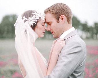 SALE, Ivory Art Deco Cap Veil, Great Gatsby Veil, Lace Cap Veil, Vintage Veil, 1920 wedding veil, Tulle Veil, Juliet Veil, Long Wedding Veil