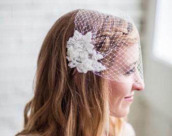 Ivory Lace Wedding Veil, Birdcage Veil, Blusher Veil, Bandeau Birdcage Veil, Beaded Lace Birdcage Veil, Bird Cage Veil, Bridal Birdcage Veil