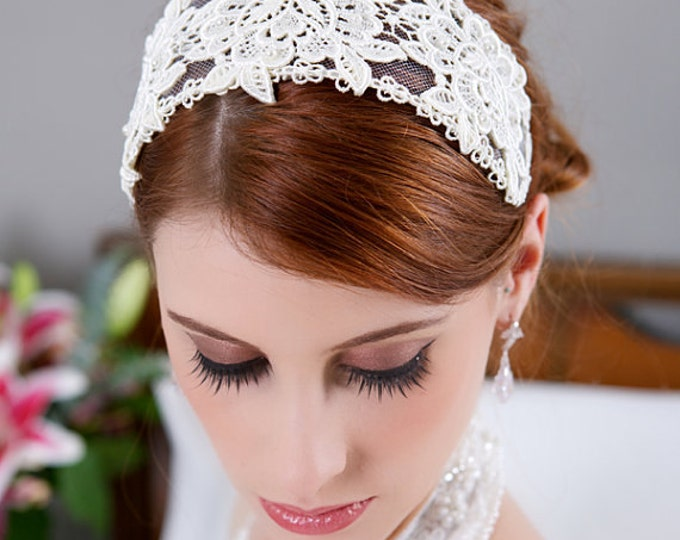 Lace Bridal Cap, Ivory Lace Headband, Ivory Headpiece, Ivory Lace Crown, Veil Headband, Wedding Headpiece, Aubrey Hepburn Wedding Headpiece