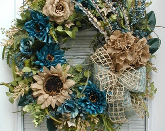 Fall Wreath All Year Front Door Decoration Teal Blue Brown Silk Floral Burlap Flowers Elegant Autumn Wall Hanging Grapevine Fireplace Decor
