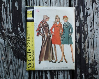 McCall 2216 1960s 60s Trench Coat Double Breasted Vintage Sewing Pattern Size 10 Bust 32.5