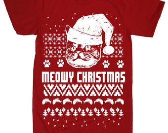On Sale - Christmas Cat Ugly Christmas Funny Christmas In July Cute Cat Shirt Kitty Kitten T Shirt Tee Cat Lover Crazy Cat Lady Present Men