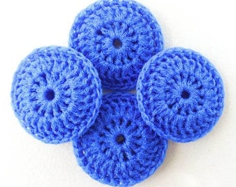 Nylon Netting Dish Scrubbies - Set of 2 through 8 - Cobalt Blue Crochet Pot Scrubber