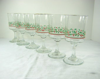 Vintage CHRISTMAS WINE GOBLETS Holly Glasses HOLiDAY Set/6 Glassware Stemware Arbys