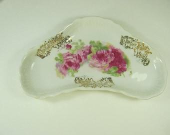 Vintage PINK ROSE Side DISH Set/6 Lush Cabbage Roses Salad Appetizer Plate
