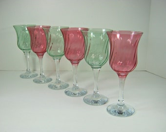 Vintage OPTIC Swirl WINE GOBLET Set/6 Cranberry Red & Green Glass