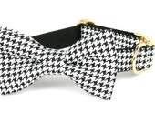 Crew LaLa™ Black & White Houndstooth Bow Tie Dog Collar