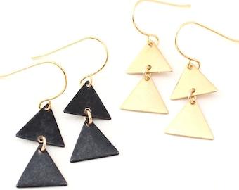 Rimi -- double triangle charm earrings