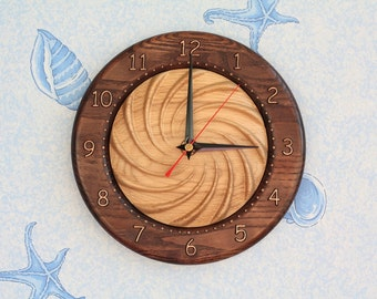 "Wood carved wall clock ""Swirl"""