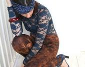 ON SALE Tie dye leggings in brown with black ornamental print, women's leggings