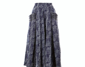 Denim skirt, wide mid-calf skirt, women's skirt, fully lined mid-calf skirt, size S-XXL