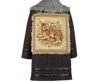 Wool coat BAMBI - size XL/42 - fall/winter '15 #6 - women wool coat with faux fur and vintage tapestry, one of a kind