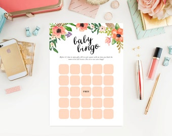 Instant Download - Boho Baby Bingo Game Cards