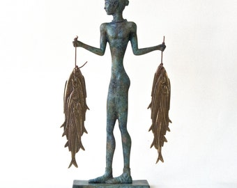 Santorini Greek Sculpture, Fisherman Bronze Statue, Cyclades Akrotiri Fresco Bronze Museum Reproduction, Ancient Greece Bronze Age Art