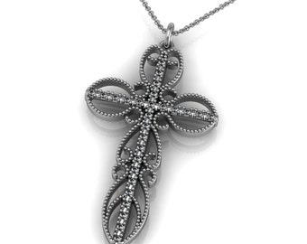 Unique Diamond 14k Gold Cross Pendant Necklace accented by 27 small round diamonds 0.27ct | made to order for you within 5-7 business days