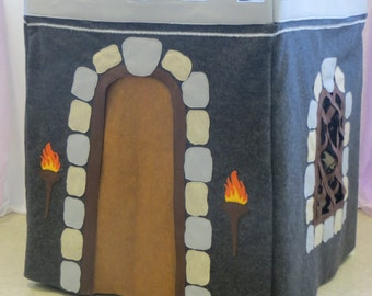 Card Table Playhouse- Deluxe Medieval Castle- Boys Fort- Felt Castle Fort- Childrens Playhouse- Dungeon Playhouse- Kids Play Tent