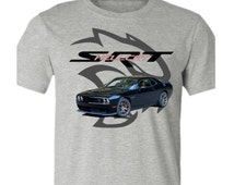 Muscle Car T-shirt-Dodge Challenger Hellcat t-shirt-Black-Muscle Car Tee in Grey,car gift, teen boy gift, for him, muscle car gift