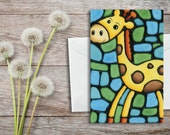 Giraffe Birthday Card Blue - Giraffe on Blue Background - Baby Shower Card, Invitation, Celebration/Holiday Card - by Artist Kathy Lycka