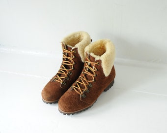 Vintage Brown Suede Leather Lace Up Ankle Boots with Sherpa Liner, Womens 5 1/2
