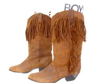 Vintage 1980's Boots l Dingo Brown Fringe Leather Boots l Size 6.5 l Vintage Boots