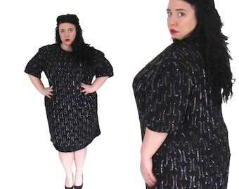 Plus Size 1980's Dess l Black Beaded Silk Dress l Size 2X/3X l Vintage Dress