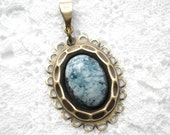 Soft Blue Sapphire Glass Pendant  Pendant in Layered Antiqued Brass