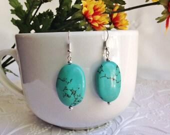 Big Turquoise earrings, large bead earrings, Western earrings, gemstone earrings, bohemian, boho chic, semiprecious stone earrings