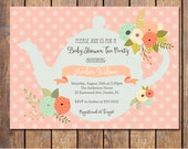 Tea Party Baby shower invitations, gender neutral baby shower, blue and pink, printable tea party baby shower invite, digital (JPD332)
