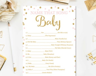 Pink and Gold Baby Shower Games, Name That Song Game, Baby Songs Game. Glitter Confetti Blush Pink Baby Shower Games Printable Download BB1
