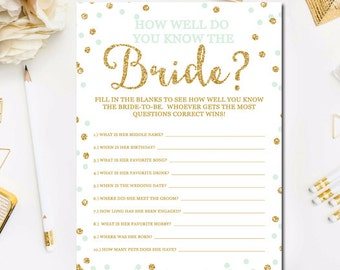 Mint and Gold Bridal Shower How Well Do You Know The Bride To Be Game, Printable Gold Mint Bridal Shower Who Knows the Bride Best Game BR19