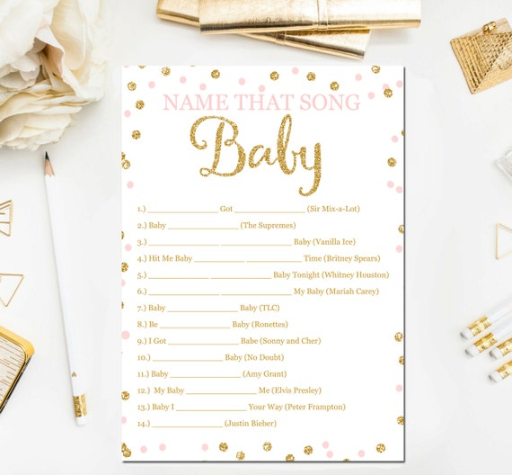 pink and gold baby shower games name that song game baby songs game