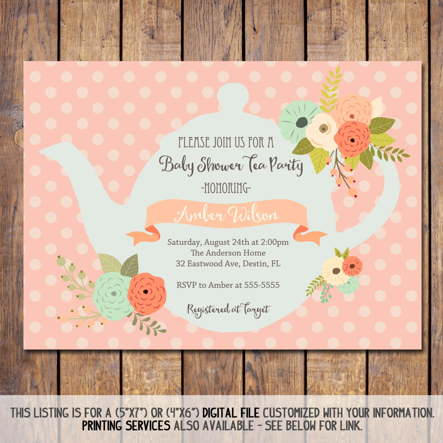 tea party baby shower invitations gender neutral baby shower