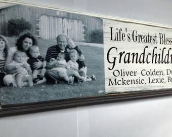 Grandparent personalized photo gift grand ma and grandpa grandchildren black and white shabby chic rustic grandchildren are lifes greatest