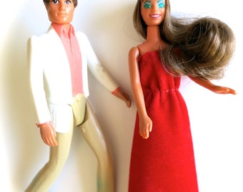 Vintage Glamour Gals Dolls-Erin in Crowning Beauty & Jason in Dinner Date-Kenner Toy Figures-Brunette w/ Red Dress and Tiara-1982 Figurines