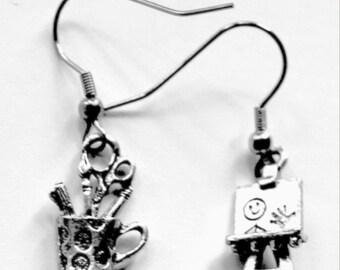 Art Teacher gift - pewter - stainless steel hooks