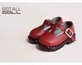 GOTALL doll handmade Martin T-strap shoes for Blythe doll / Pullip / Azone / JerryBerry / DAL / Momoko - doll shoes - Maroon
