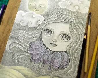 Pencil Drawing of a Whimsical Dream, Original Art, Pencil Illustration of a Girl with Big Eyes, Original Wall Art