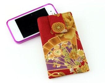 Iphone Plus, Phone Pouch, Iphone 6 Plus, Iphone 6, Fabric Phone Case, Gadget Case, Sensu Red