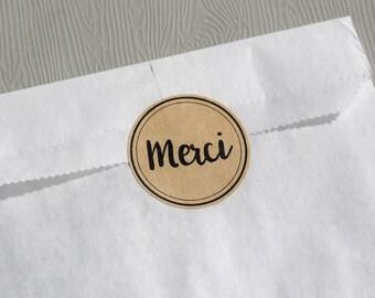 "Circle stickers ""MERCI"" x12 (kraft)"