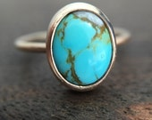 Natural Turquoise Bezel Set Oval Ring 14K Yellow Gold