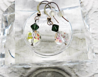 Faceted AB Glass  and Swarovski Crystal Earrings - Upcycled - Euro Clasp - Aurora Borealis