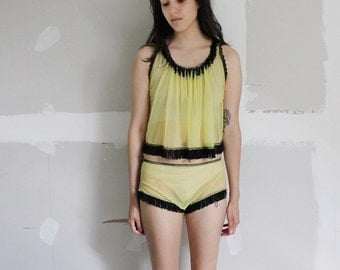 Vintage Lingerie Burlesque Fringe See Though Lingerie 2 piece Set Pin Up Small