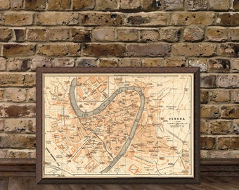 Verona map - Vintage map of Verona - archival reproduction - 16 x 23.5 inches