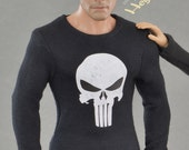 1/ 6 scale black long sleeve Punisher skull T-shirt for: collectible action figures and male fashion dolls