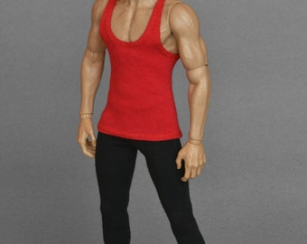 1/6th scale red tank top for action figures and male fashion dolls