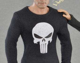 1/6th scale black long sleeve Punisher skull T-shirt for: action figures and male fashion dolls