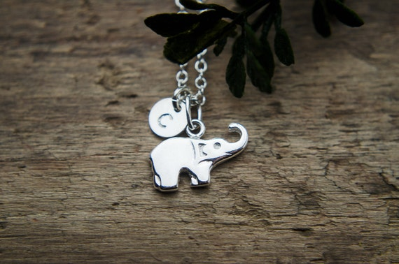 Sterling Silver Elephant Necklace | Tiny Personalized Initial Necklace