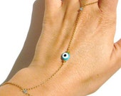 Evil Eye Bracelet Gold - Slave Bracelet - Swarovski - Bracelet Ring - Evil Eye Jewelry - Valentines Gift