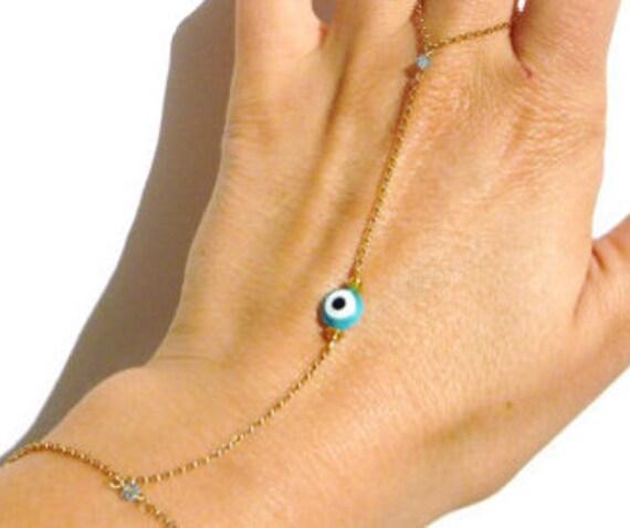 Gold Evil Eye Bracelet - Slave Bracelet - Swarovski Crystal - Bracelet Ring - Evil Eye Jewelry - Body Chains // Aylin