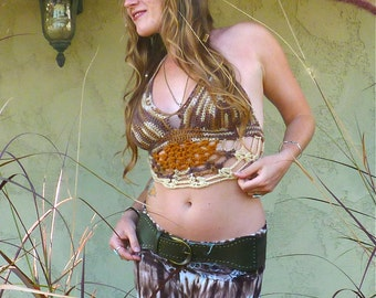 Crochet Festival Top - Butterfly Fall. Crochet Bikini. Tribal. Hippie. Halter Crop Top. Hooping. Custom. Handmade